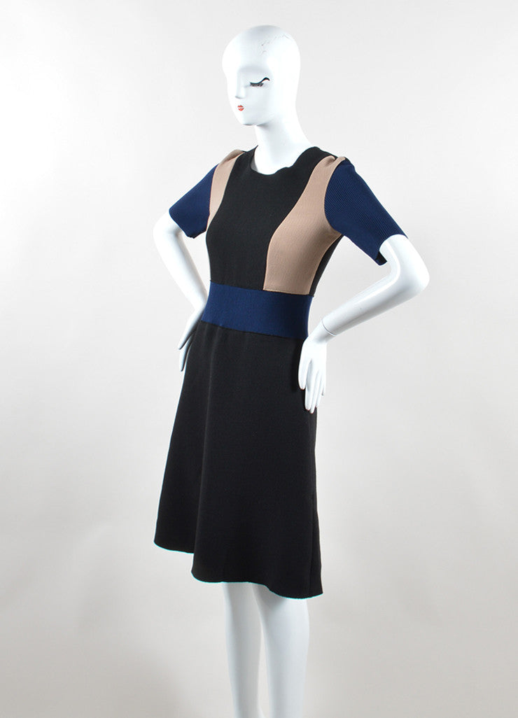 Derek Lam Black, Navy, and Tan Stretch Wool Color Block Short Sleeve Dress Sideview