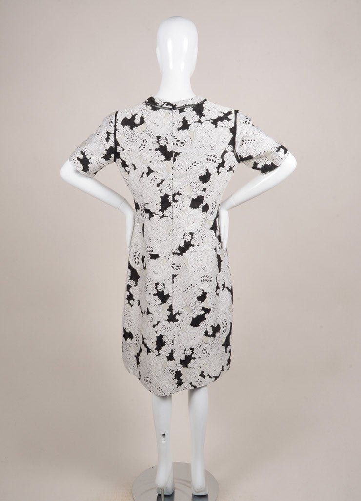 Derek Lam New With Tags White and Black Wool Blend Embroidered Paisley Short Sleeve Dress Backview