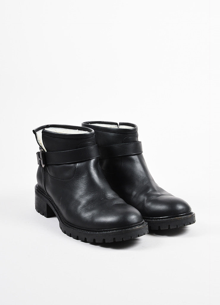 Fendi Black Leather Shearling Lined Ankle Boots Frontview