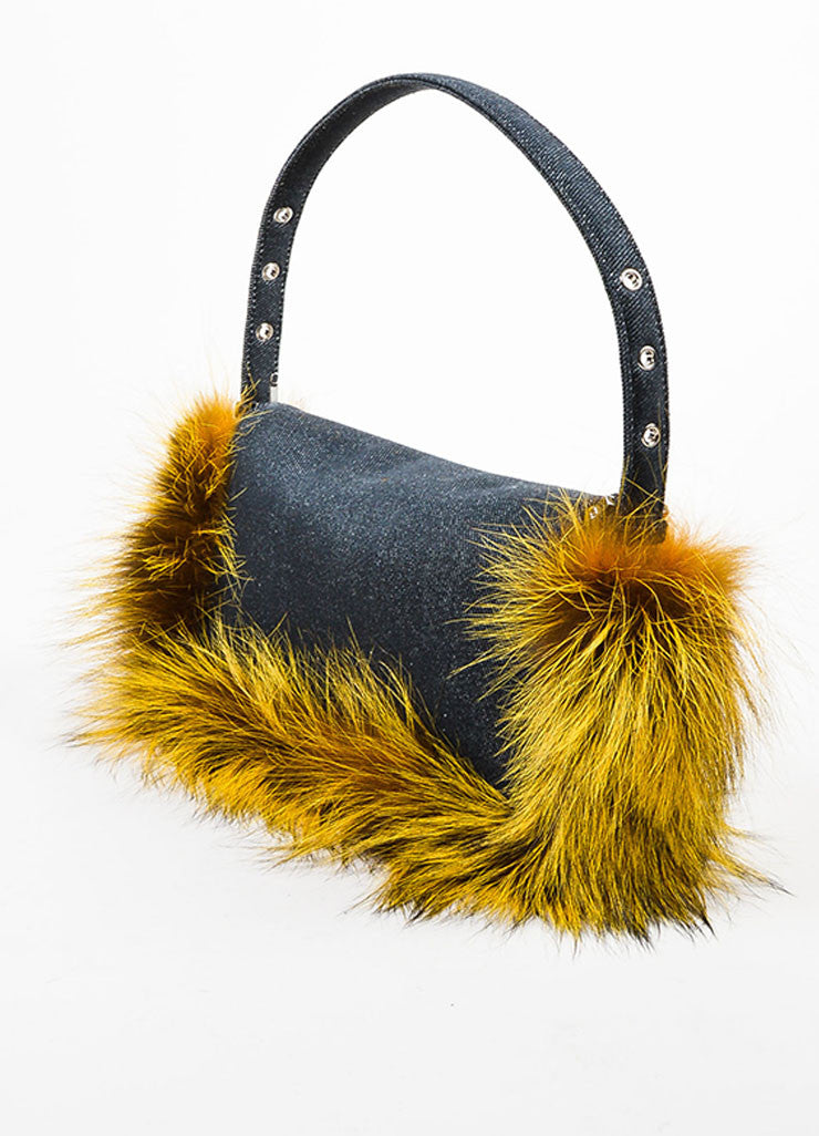 "Fendi Indigo and Yellow Denim Fox Fur Trim ""Be Baguette"" Shoulder Bag Sideview"