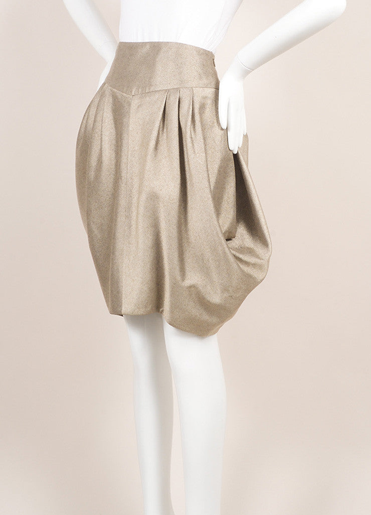 Giorgio Armani Gray Beige Metallic Structured Voluminous Pleated Skirt Sideview