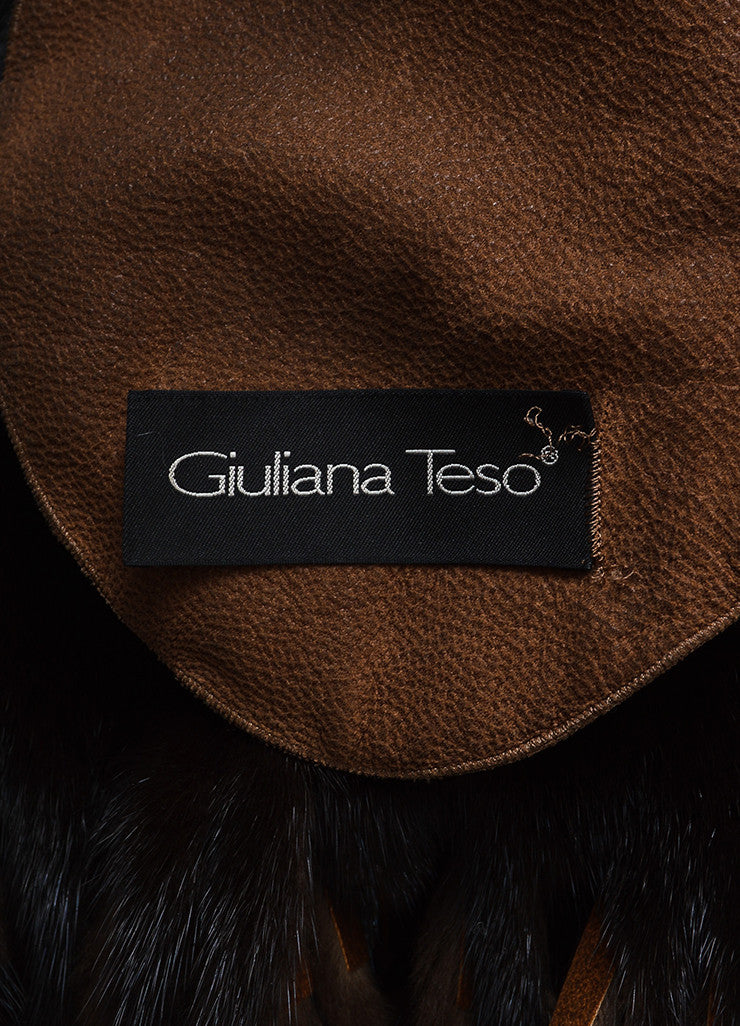 Giuliana Teso Brown Mink Fur Suede Fringe Belted Reversible Coat Brand