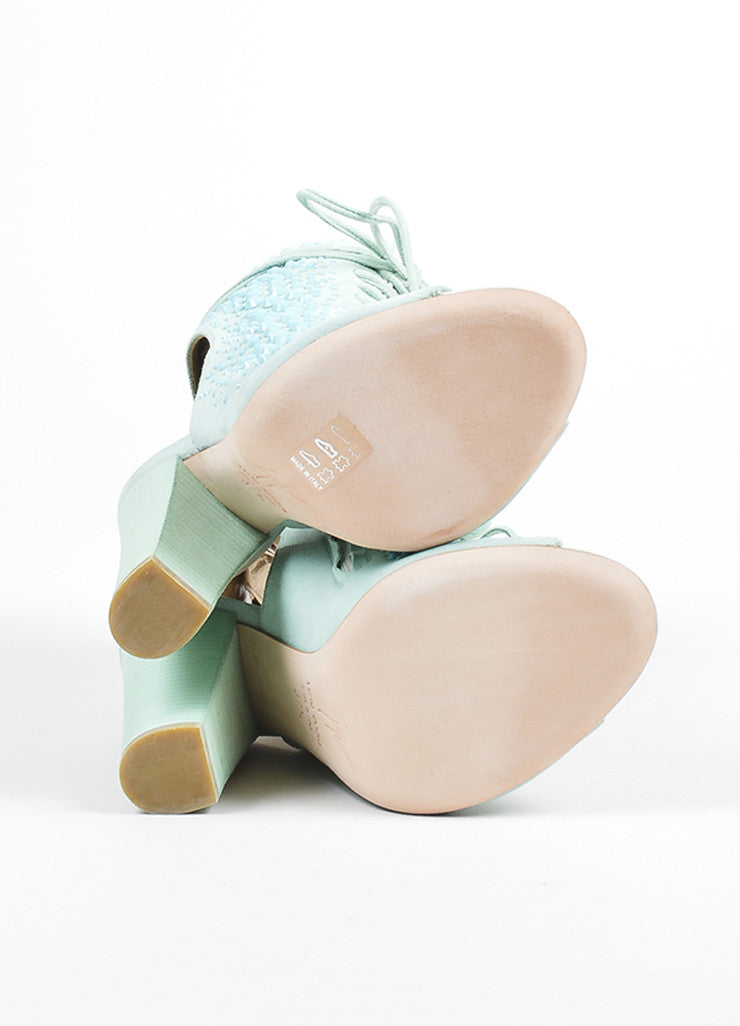 Mint Green Giuseppe Zanotti Lace Up Peep Toe Block Heel Boots Sole