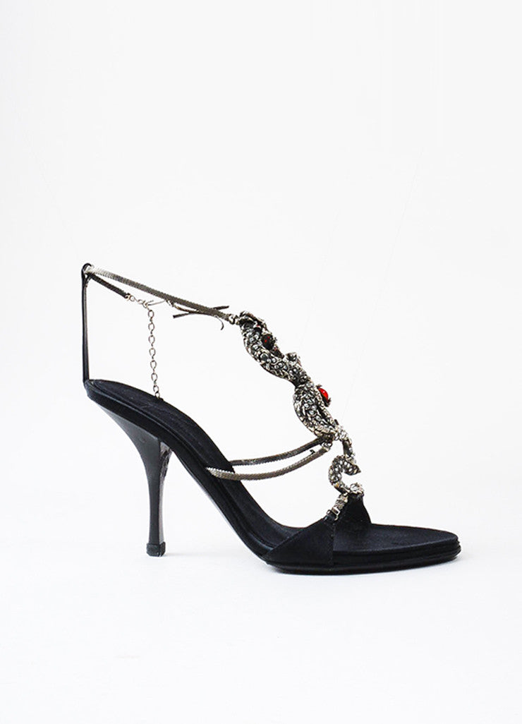 ¥éËGiuseppe Zanotti Black Satin Silver Toned Dragon Rhinestone Heel Sandals Sideview