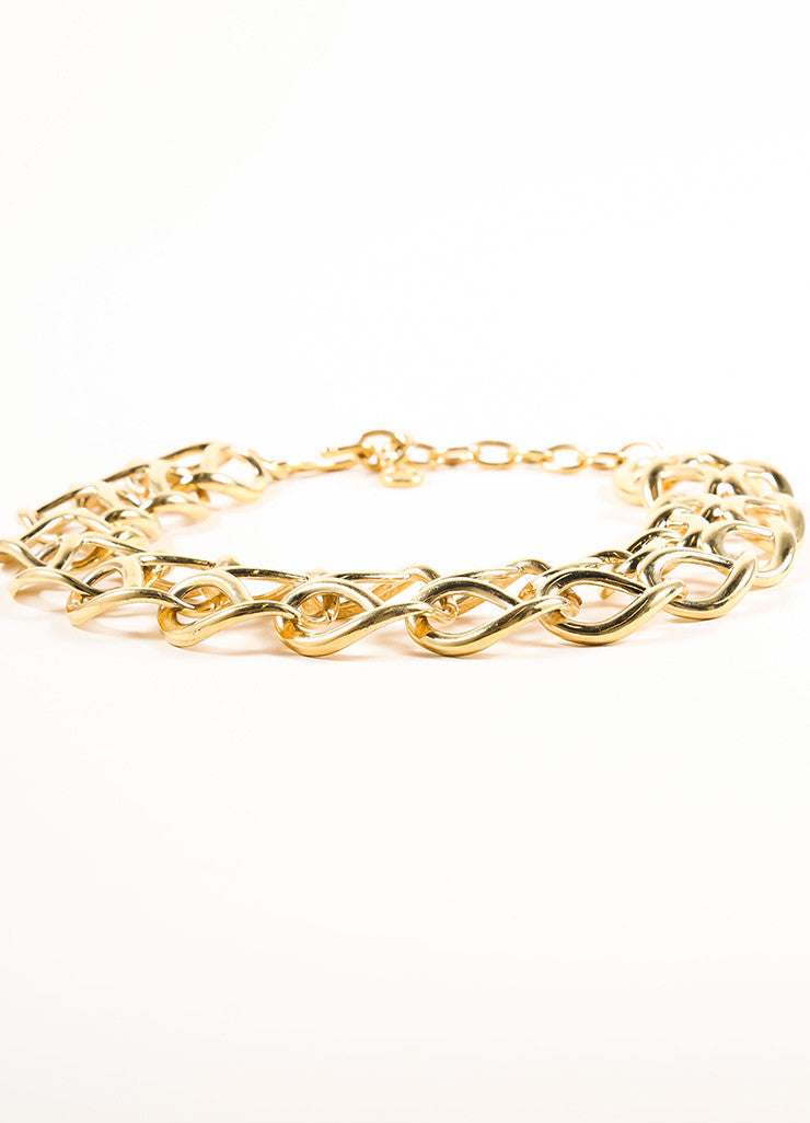 Givenchy Gold Toned Looped Chain Link Short Necklace Sideview