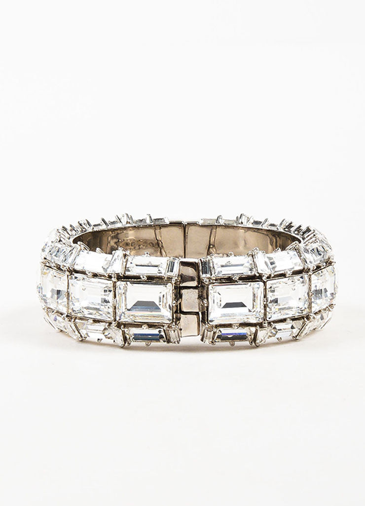 Gucci Silver Plated Swarovski Crystal Hinged Statement Bangle Bracelet Backview