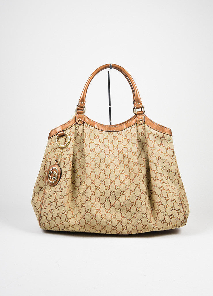 "Brown Gucci Monogram Canvas ""Sukey"" Tote Bag Frontview"