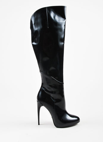 Gucci Black Patent Leather Over The Knee Heeled Boots Sideview