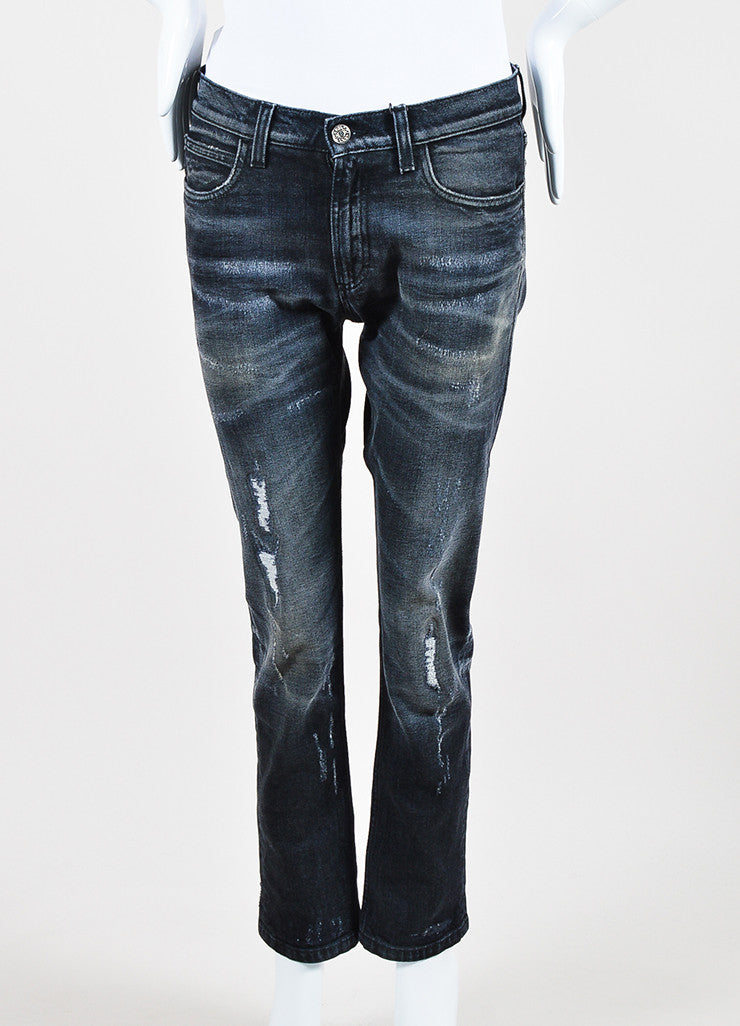 Gucci Dark Grey Denim Faded Distressed Straight Leg Regular Jeans Frontview