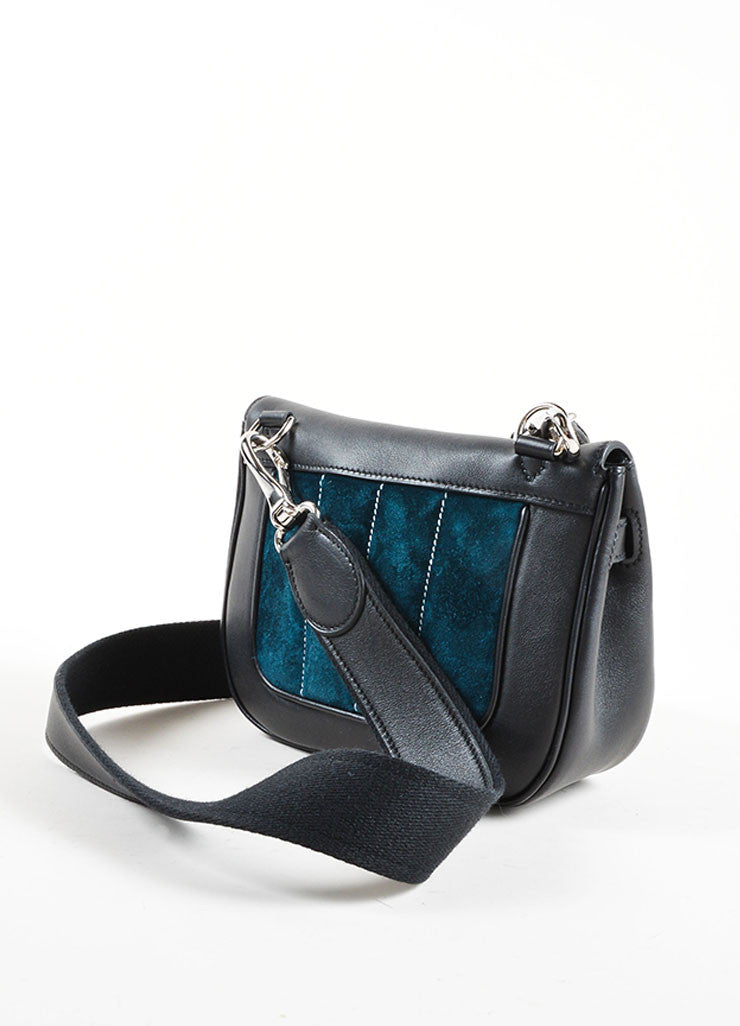 "Hermes Black and Teal Calfskin and Suede Leather Quilted ""Mini Berline"" Shoulder Bag Backview"