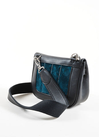 "Hermes RARE Black Teal Calfskin Suede Leather ""Mini Berline"" Bag Back"