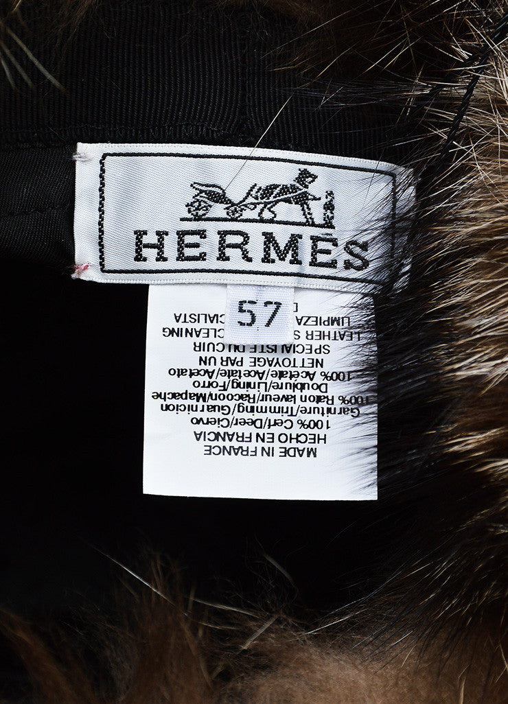Brown Hermes Leather and Raccoon Fur Trapper Hat Brand