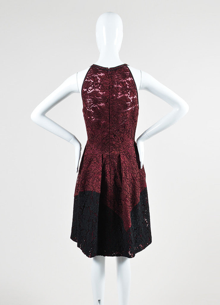 Maroon J. Mendel Lace Pleated Sleeveless Skater Dress Back