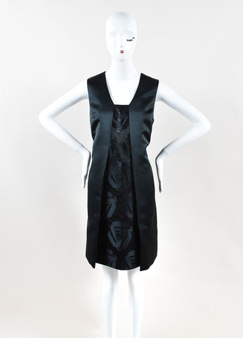 Jil Sander Navy Black Sleeveless Metallic Knit A-Line Dress Frontview