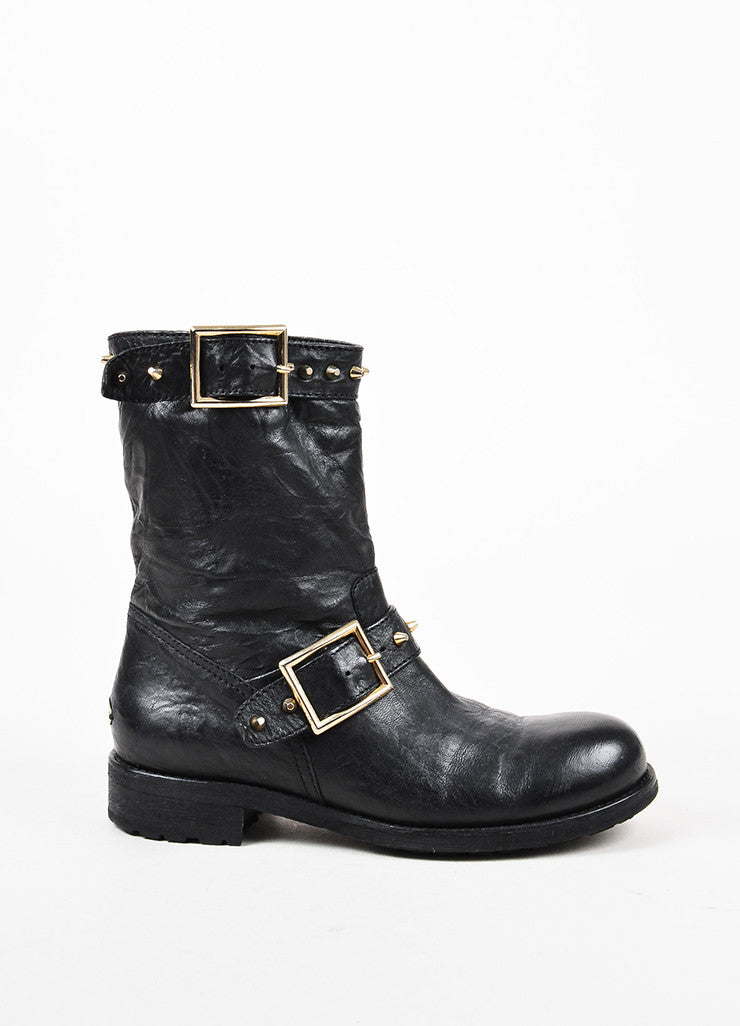 "Jimmy Choo Black Leather Studded Mid Calf ""Youth"" Moto Boots Side"