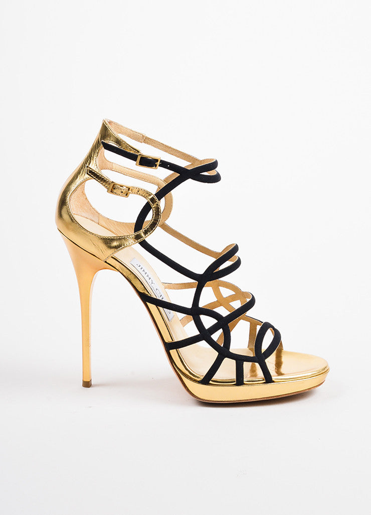 "Jimmy Choo Black and Gold Leather and Canvas ""Bunting"" Cage Sandal Heels Sideview"