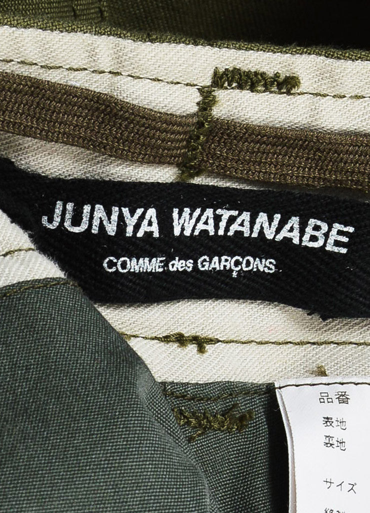 Junya Watanabe Comme des Garcons Olive Green Ruffle Leg Cargo Shorts Brand