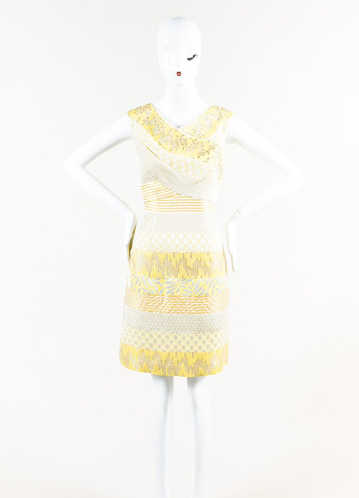 Kay Unger Yellow, Silver, and Gold Metallic Brocade Sleeveless Sheath Dress Frontview