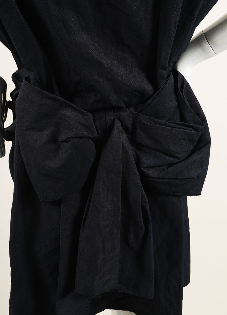 Lanvin Navy Blue Cotton Ruched Bow Back Short Sleeve Dress Detail
