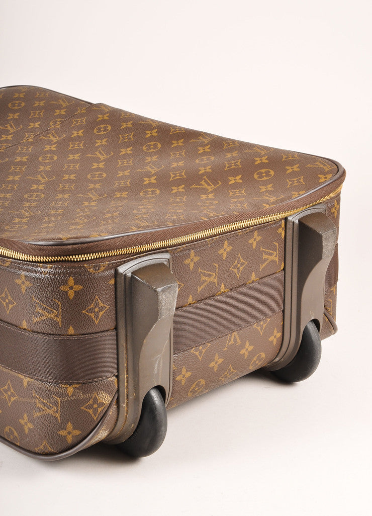 "Louis Vuitton Brown Monogram Canvas ""Pegase 55"" Rolling Luggage Suitcase Bottom View"