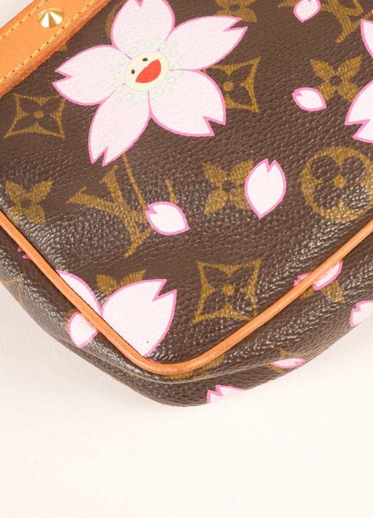 Louis Vuitton Brown and Pink Cherry Blossom Monogram Canvas Bow and Stud Pochette Bag Detail
