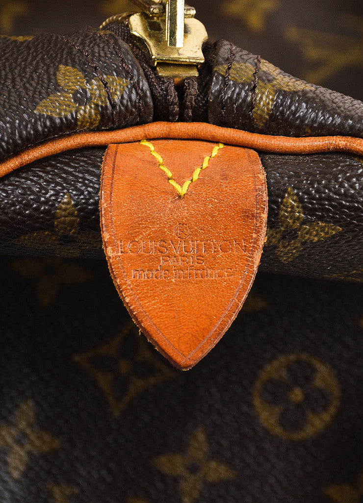 "Louis Vuitton Brown and Tan Monogram Leather ""Keepall 60"" Bag Brand"