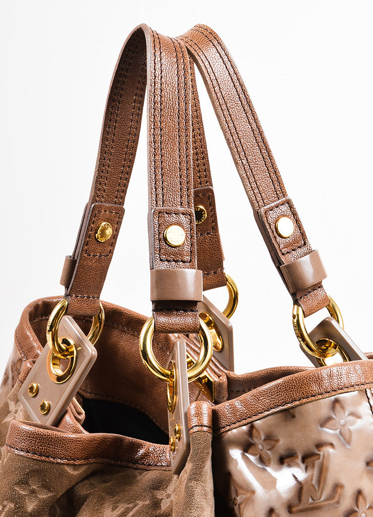 "Louis Vuitton Taupe Brown Suede Patent Vernis Leather ""Irene Coco"" Hobo Bag Detail 2"