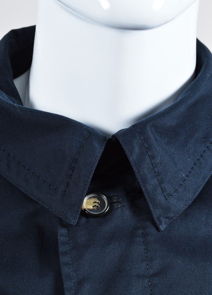 Men's Brioni Black and Navy Twill Wool Leather Reversible Belted Trench Coat Detail