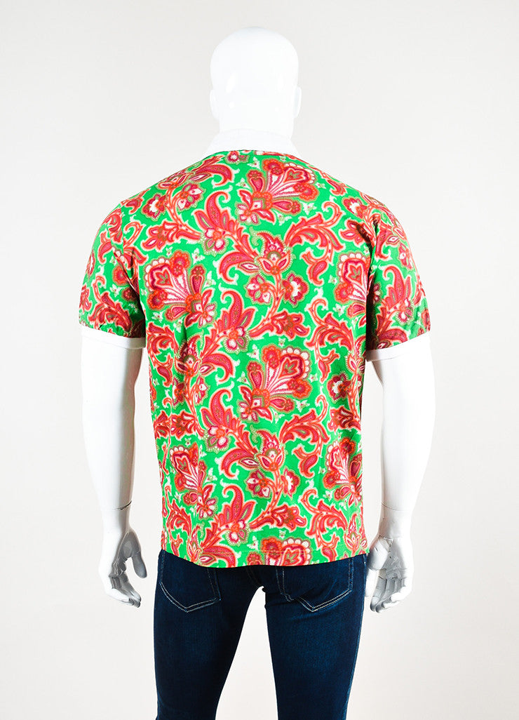 Men's Etro Red Green Paisley Print Short Sleeve Polo Shirt Back