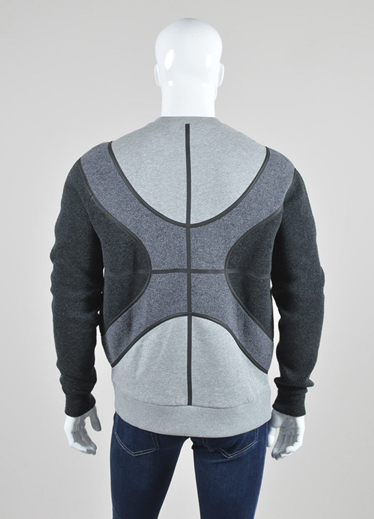 Men's Grey Givenchy Wool Color Block Basketball Sweatshirt Back