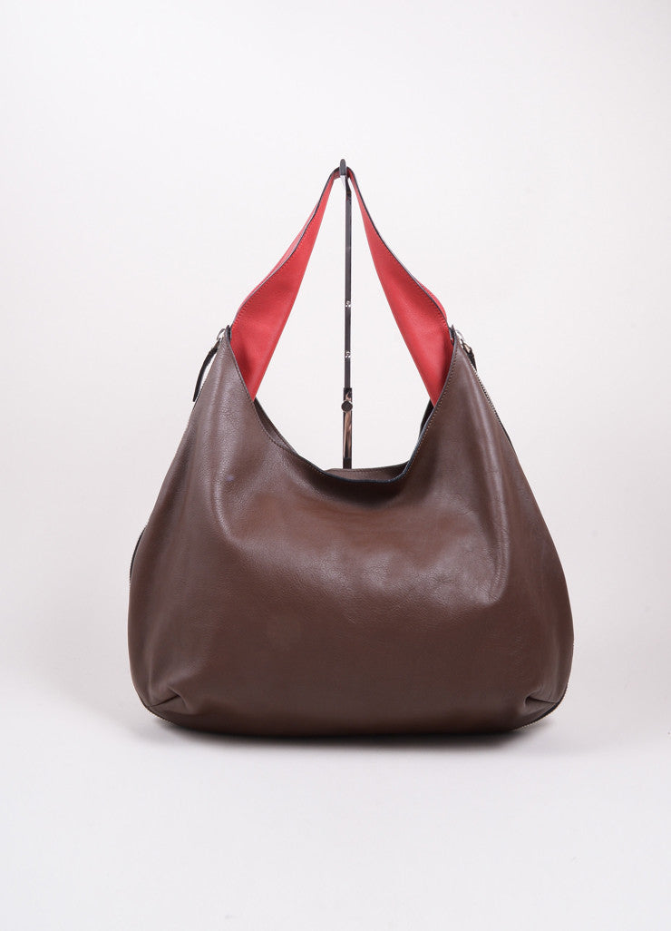 Marni Brown and Red Leather Expandable Zipper Hobo Shoulder Bag Frontview