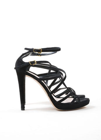 Black Miu Miu Suede Leather Strappy Heeled Sandals Sideview