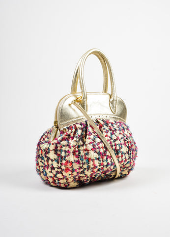 Moschino Gold Metallic Leather and Multicolor Tweed Small Satchel Bag Sideview