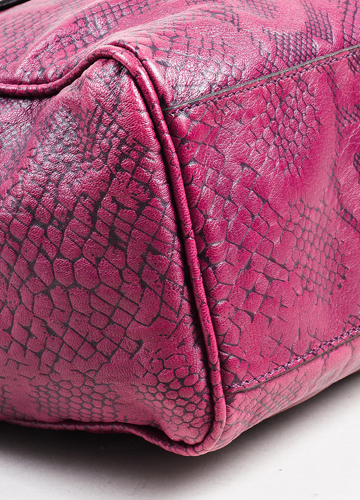 "Mulberry ""English Plum"" Leather Snake Embossed Chain Strap ""Cory"" Tote Bag Detail"