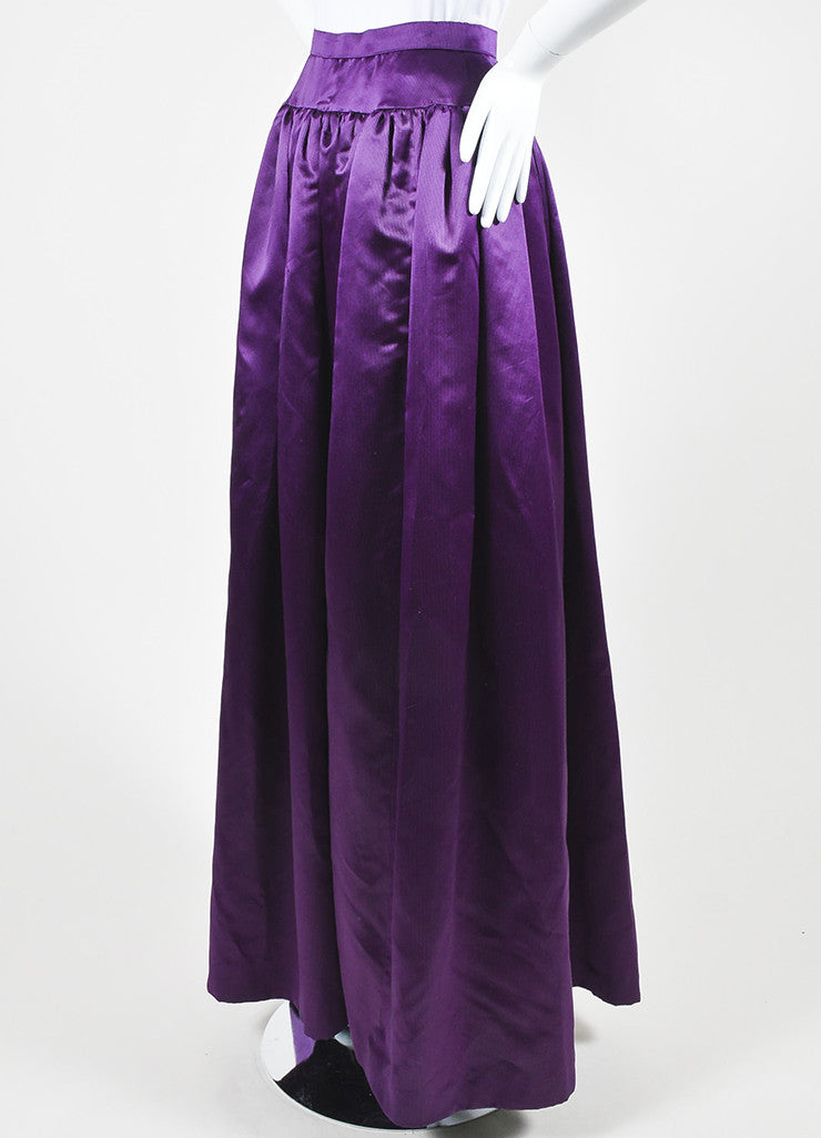 Purple and Black Oscar de la Renta Silk Satin Striped Ball Gown Skirt Sideview