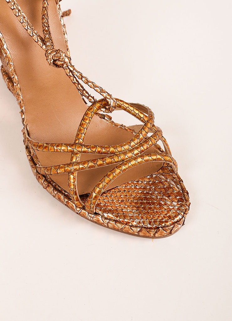 Pierre Hardy Copper and Silver Metallic Python Wedge Sandals Detail