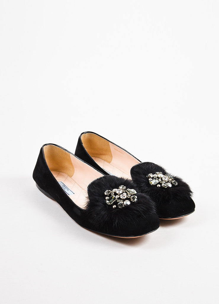 Prada Black Suede Leather Fur Crystal Embellished Loafer Flats Frontview