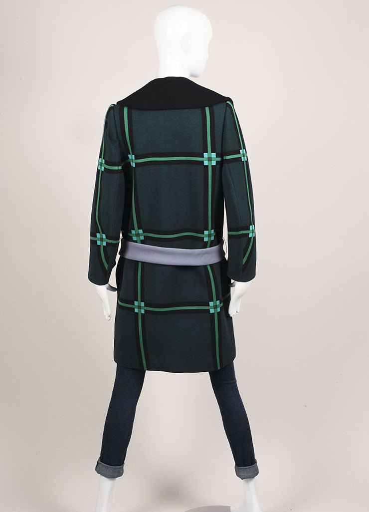 Prada Black, Cream, and Green Wool Oversized Check Belted Wrap Coat Backview