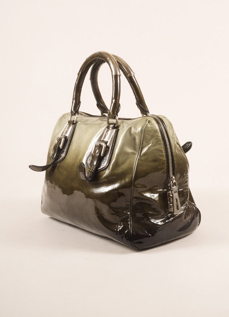 Prada Dark Green and Black Ombre Patent Leather Satchel Bag Sideview
