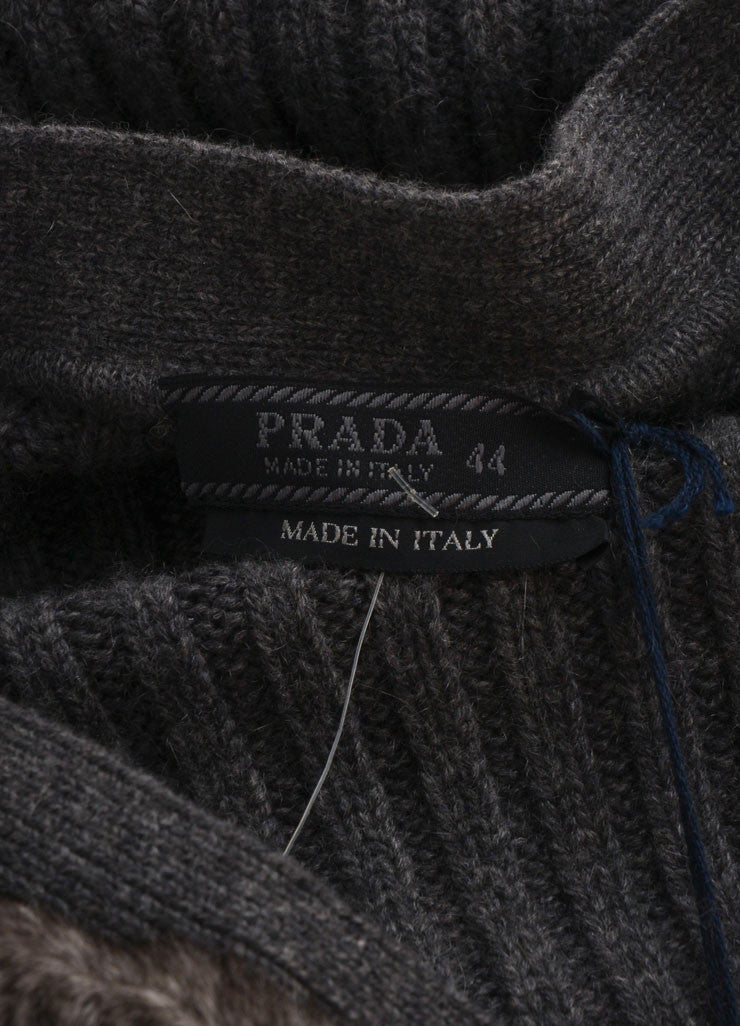 Prada New With Tags Grey Cream Chinchilla, Wool, and Cashmere Blend Sweater Vest Brand