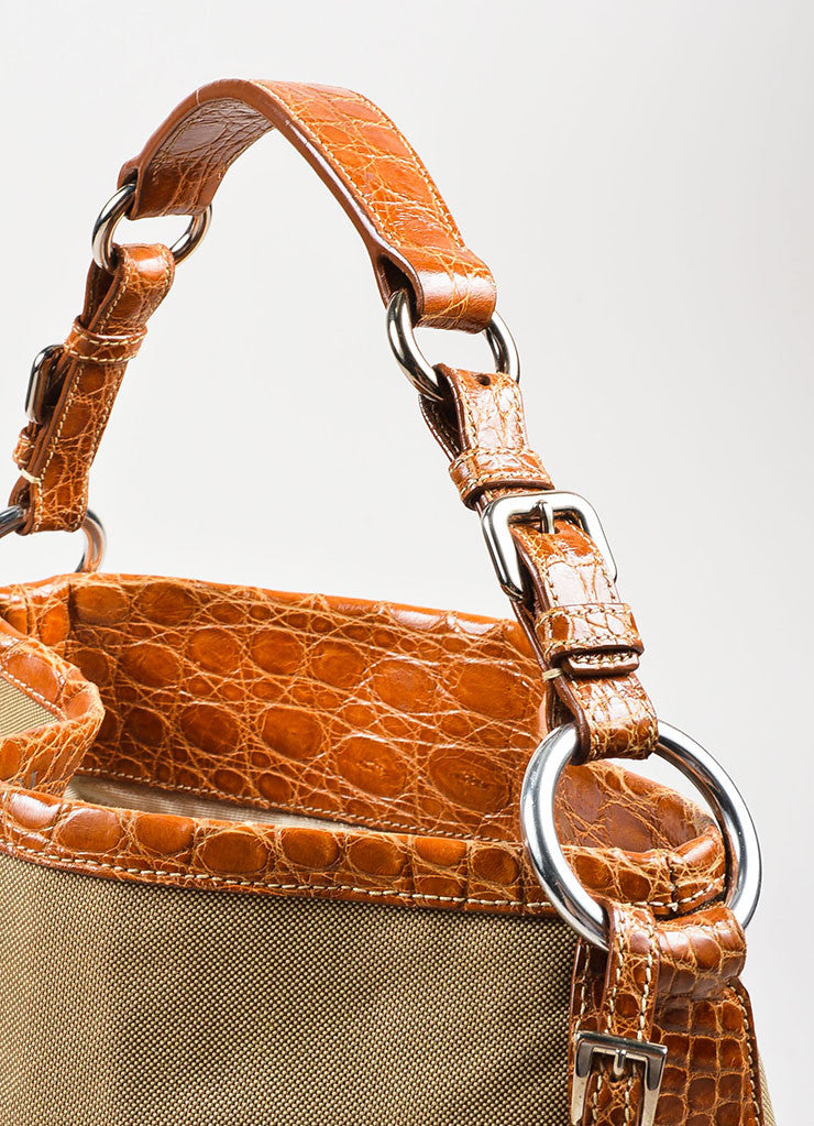 Prada Tan and Brown Canvas Crocodile Trim Logo Hobo Shoulder Bag Detail 2