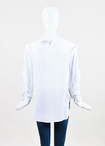 "Preen by Thornton Bregazzi White Silk Sheer Ruffled ""Mar"" Blouse Backview"