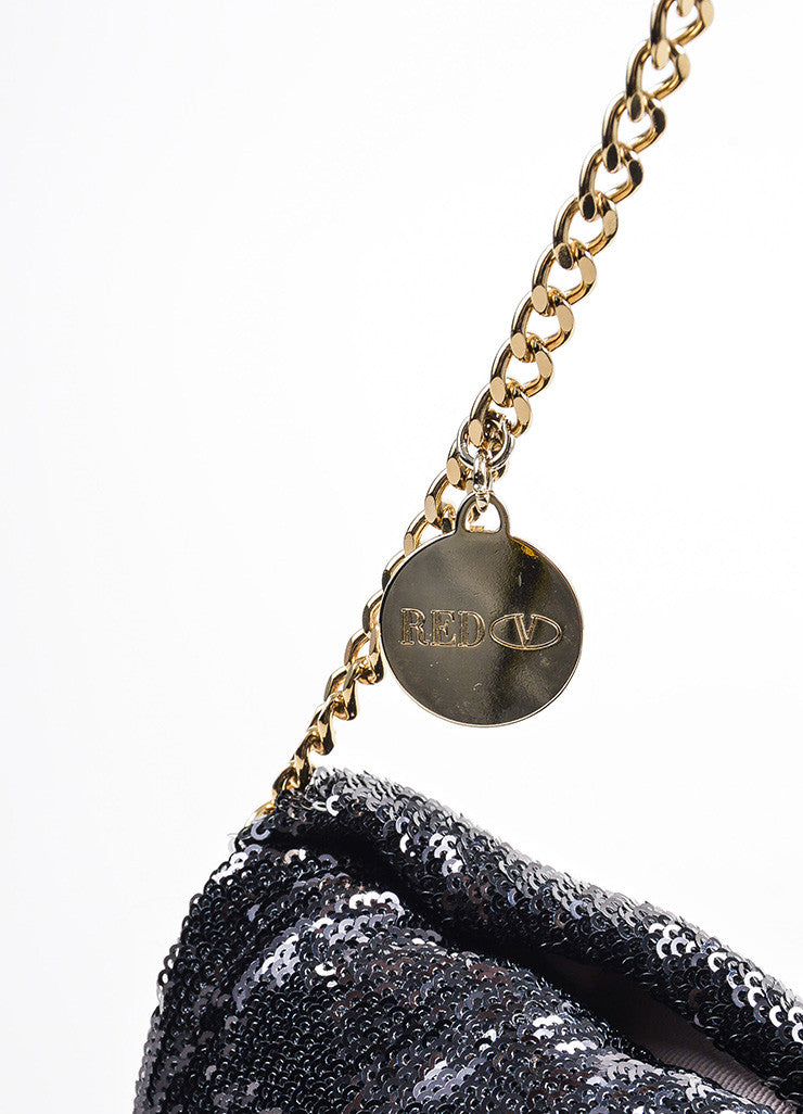 Red Valentino Black Sequin Bow Chain Shoulder Bag Detail 2