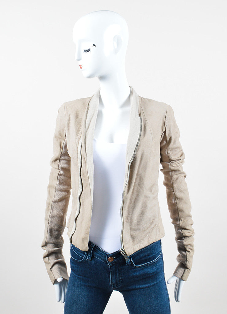 Rick Owens Beige Leather Ribbed Knit Asymmetrical Zip Jacket Frontview