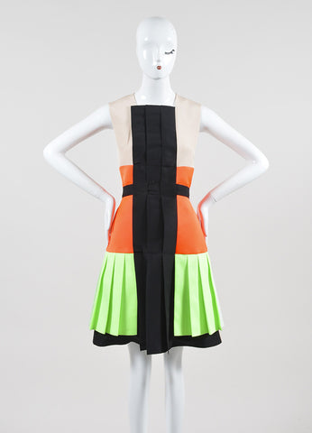 "Nude, Green, and Orange Roksanda Illincic Pleated ""Heydon"" Sleeveless Dress Frontview"