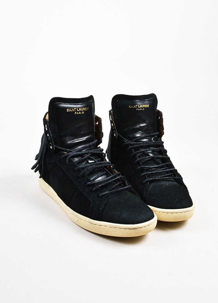 Black Saint Laurent Suede Fringe Lace Up High Top Flat Sneakers Front