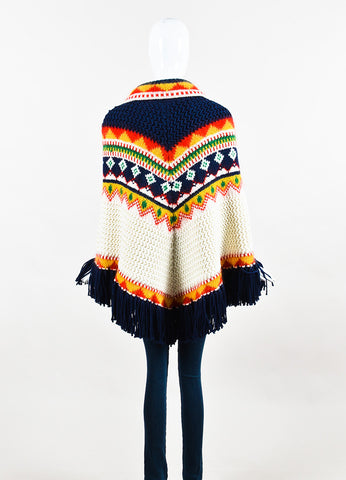 "Multicolor Saint Laurent Wool and Mohair ""Far Isle"" Poncho Back"