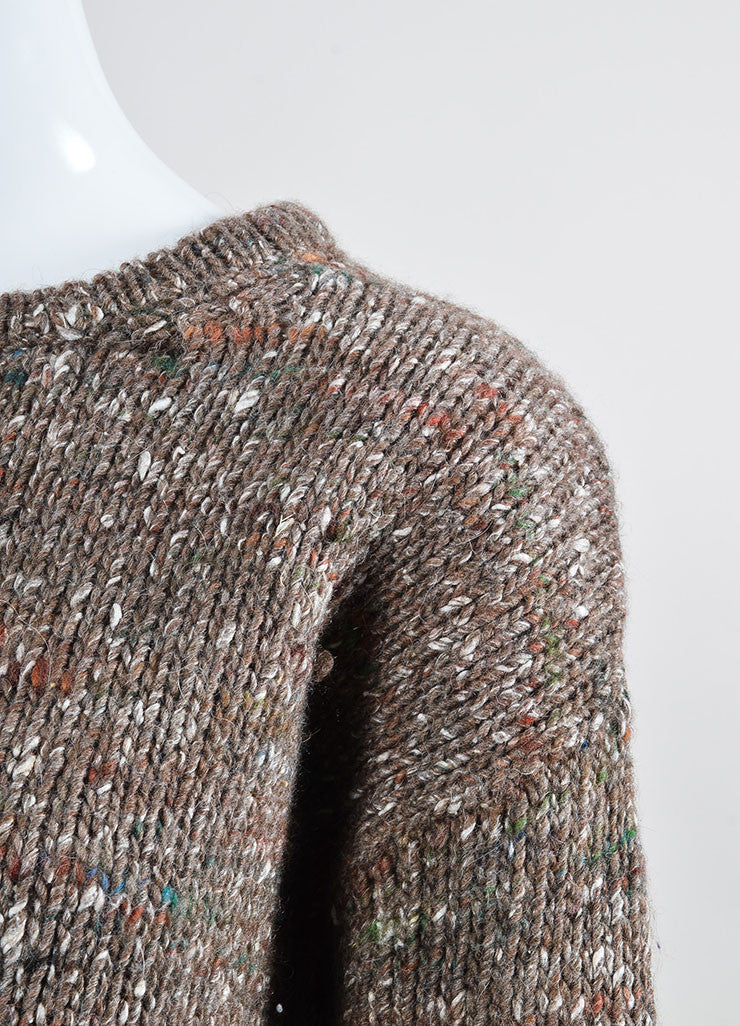 "Brown Wool Stella Jean ""Irvine Knit"" Speckled Sweater Detail"