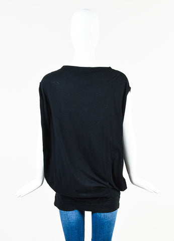 Stella McCartney Black Gray Cotton Graphic Print Sleeveless T Shirt Back