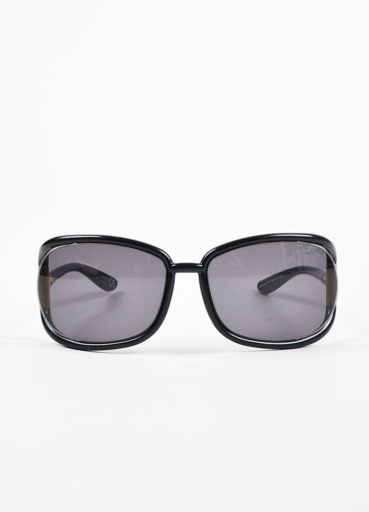 "Tom Ford Black Plastic and Gold Toned Metal Oversized ""Genevieve"" TF77 Sunglasses Frontview"